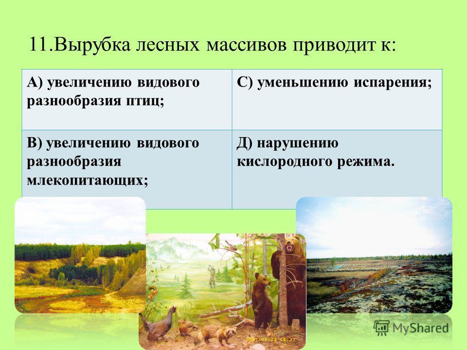 11.Вырубка лесных массивов приводит к: А) увеличению видового разнообразия птиц; С) уменьшению испарения; В) увеличению видового разнообразия млекопитающих; Д) нарушению кислородного режима.