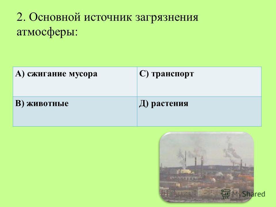 2. Основной источник загрязнения атмосферы: А) сжигание мусораС) транспорт В) животныеД) растения