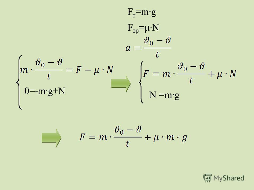 F т =m·g F тр =μ·N 0=-m·g+N N =m·g