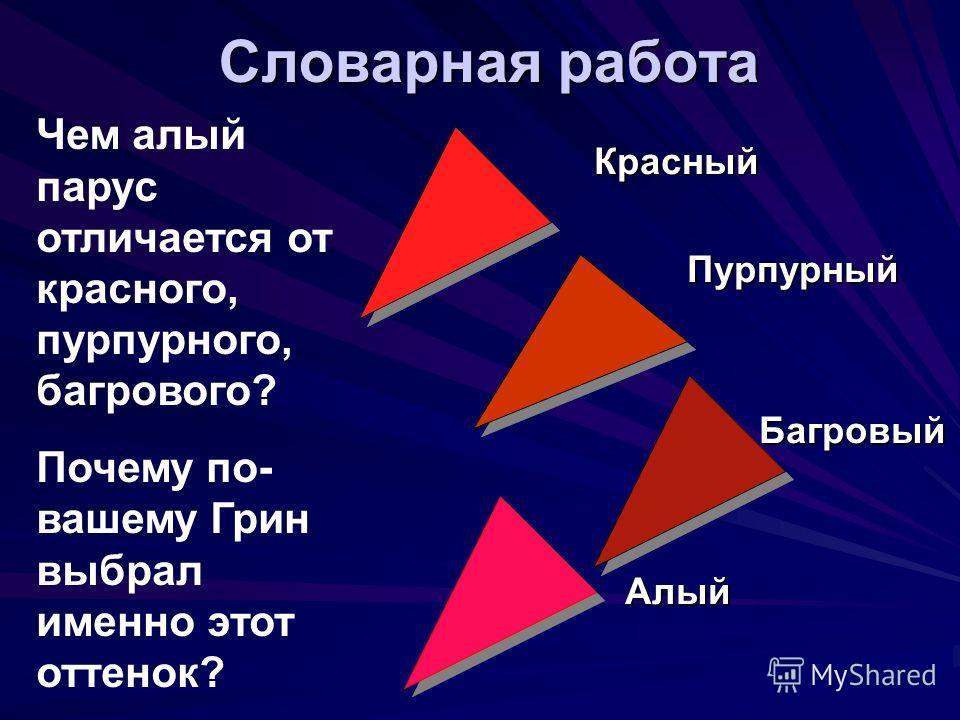 Словарная работа Красный Красный Пурпурный Пурпурный Багровый Багровый Алый Алый Чем алый парус отличается от красного, пурпурного, багрового? Почему по- вашему Грин выбрал именно этот оттенок?