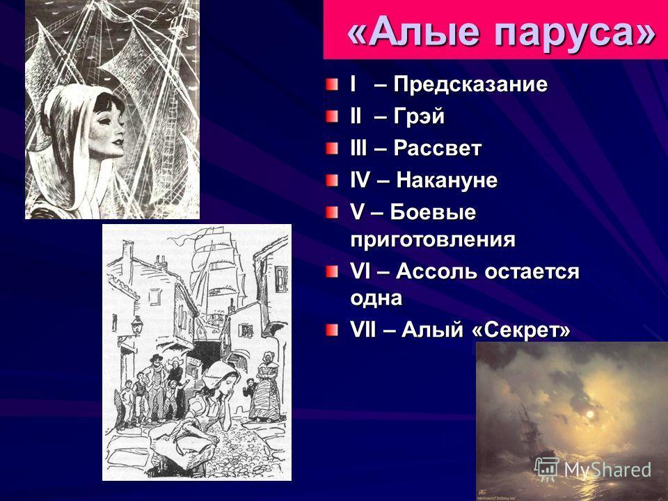 «Алые паруса» «Алые паруса» I – Предсказание II – Грэй III – Рассвет IV – Накануне V – Боевые приготовления VI – Ассоль остается одна VII – Алый «Секрет»