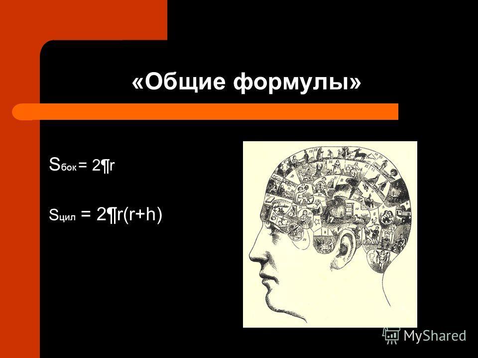 «Общие формулы» S бок = 2¶r S цил = 2¶r(r+h)