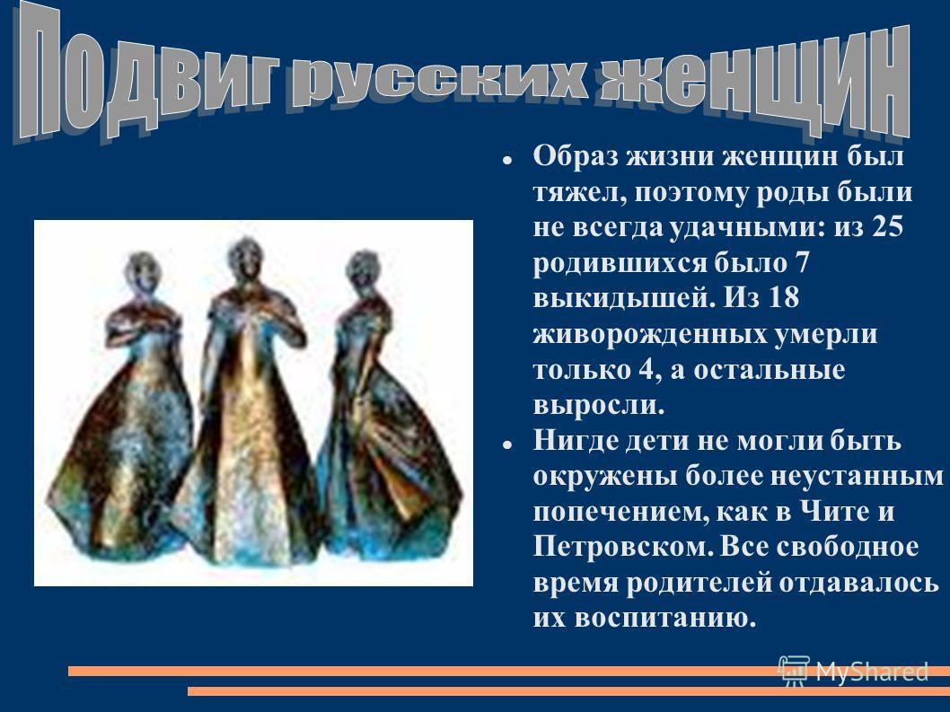Образ жизни женщин был тяжел, поэтому роды были не всегда удачными: из 25 родившихся было 7 выкидышей. Из 18 живорожденных умерли только 4, а остальные выросли. Нигде дети не могли быть окружены более неустанным попечением, как в Чите и Петровском. В