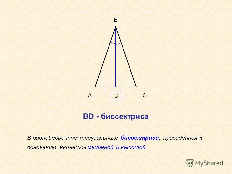 А В С D В равнобедренном треугольнике биссектриса, проведенная к основанию, является медианой и высотой ВD - биссектриса