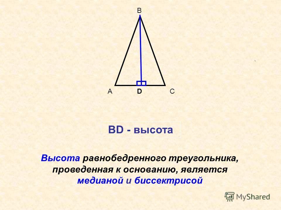 А В С Высота равнобедренного треугольника, проведенная к основанию, является медианой и биссектрисой BD - высота D
