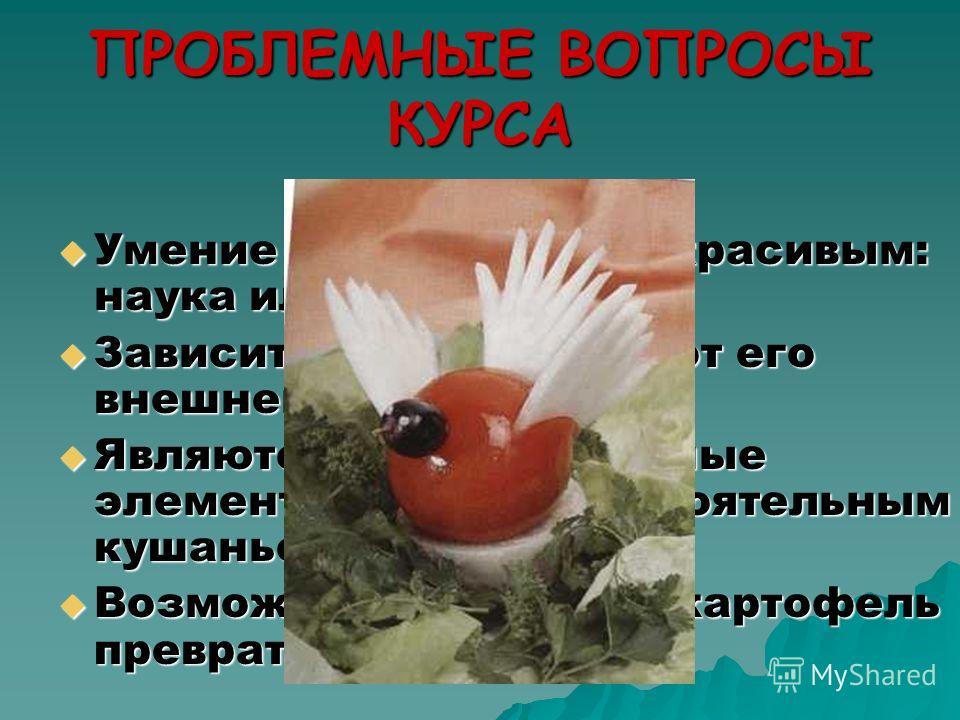 ПРОБЛЕМНЫЕ ВОПРОСЫ КУРСА Умение сделать блюдо красивым: наука или искусство? Зависит ли вкус блюда от его внешнего вида? Являются ли декоративные элементы блюд самостоятельным кушаньем? Возможно ли обычный картофель превратить в розу?