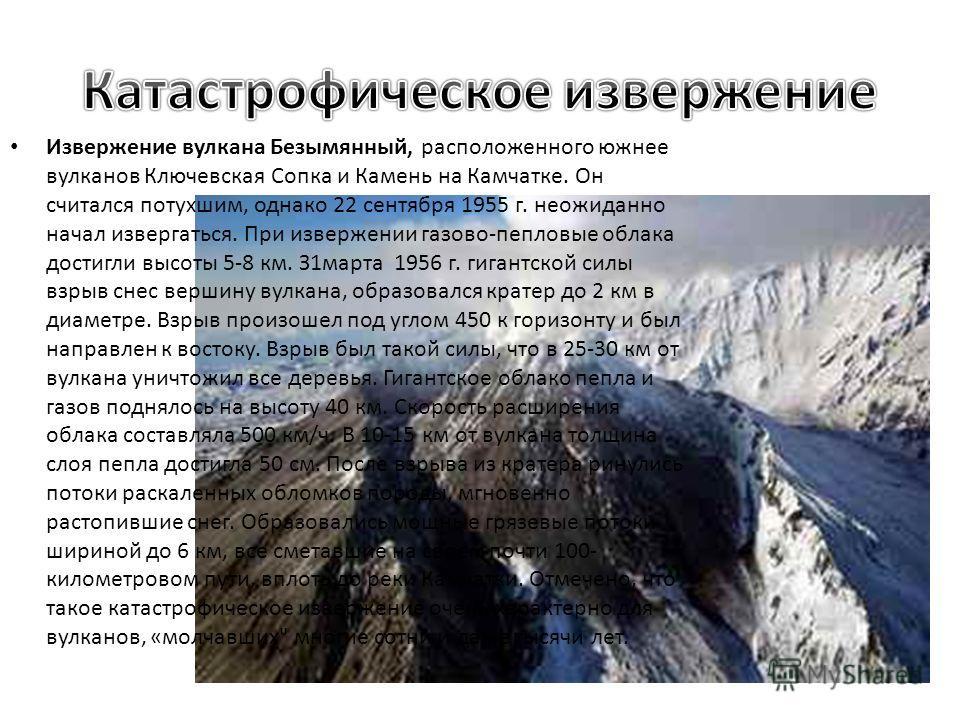 Извержение вулкана Безымянный, расположенного южнее вулканов Ключевская Сопка и Камень на Камчатке. Он считался потухшим, однако 22 сентября 1955 г. неожиданно начал извергаться. При извержении газово-пепловые облака достигли высоты 5-8 км. З1марта 1