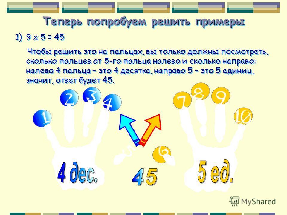 Теперь попробуем решить примеры 1)9 х 5 = 45 Чтобы решить это на пальцах, вы только должны посмотреть, сколько пальцев от 5-го пальца налево и сколько направо: налево 4 пальца – это 4 десятка, направо 5 – это 5 единиц, значит, ответ будет 45. 1)9 х 5