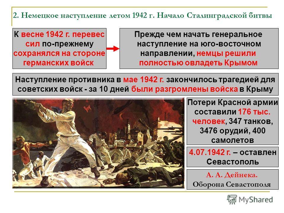 2. Немецкое наступление летом 1942 г. Начало Сталинградской битвы К весне 1942 г. перевес сил по-прежнему сохранялся на стороне германских войск Прежде чем начать генеральное наступление на юго-восточном направлении, немцы решили полностью овладеть К