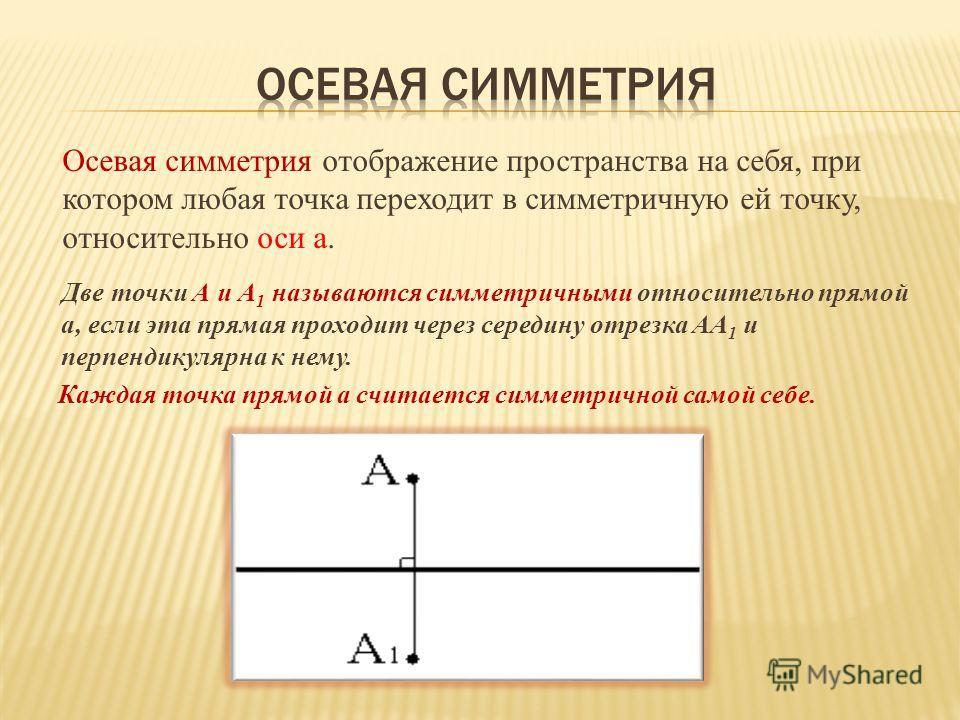 Две точки А и А 1 называются симметричными относительно прямой а, если эта прямая проходит через середину отрезка АА 1 и перпендикулярна к нему. Каждая точка прямой а считается симметричной самой себе. Осевая симметрия отображение пространства на себ