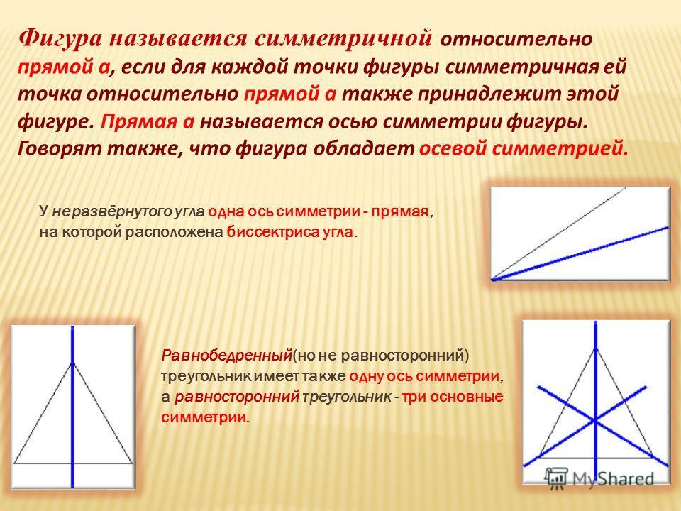 Фигура называется симметричной относительно прямой а, если для каждой точки фигуры симметричная ей точка относительно прямой а также принадлежит этой фигуре. Прямая а называется осью симметрии фигуры. Говорят также, что фигура обладает осевой симметр