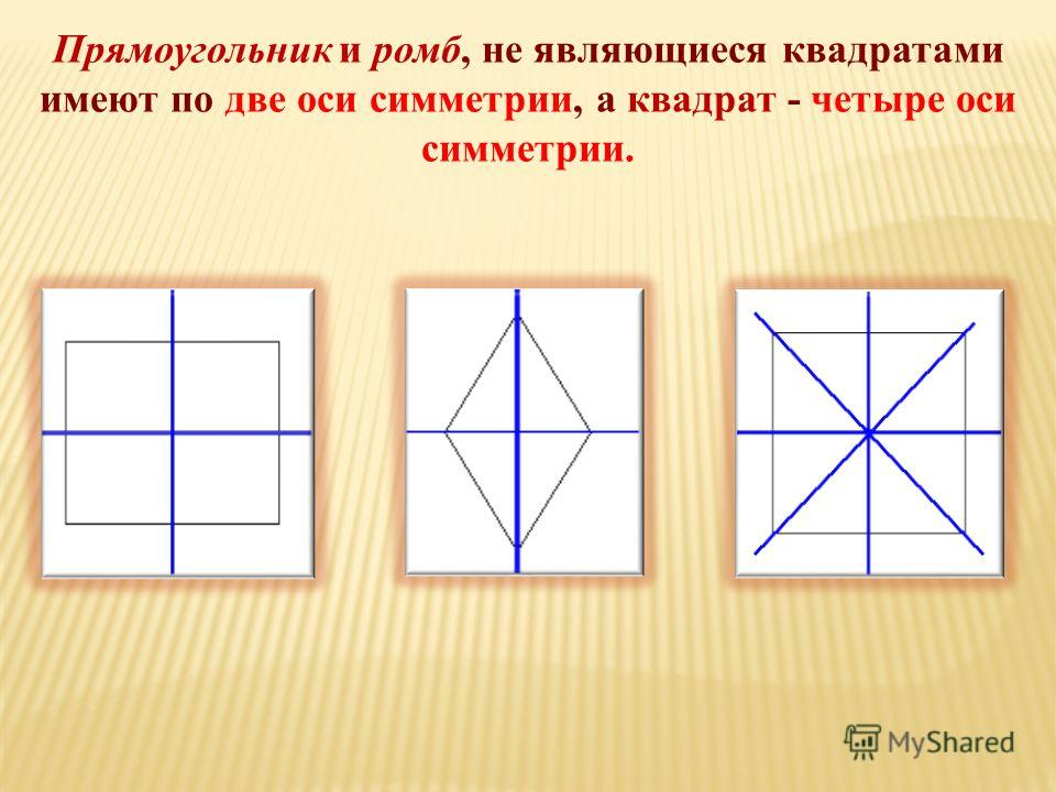 Прямоугольник и ромб, не являющиеся квадратами имеют по две оси симметрии, а квадрат - четыре оси симметрии.
