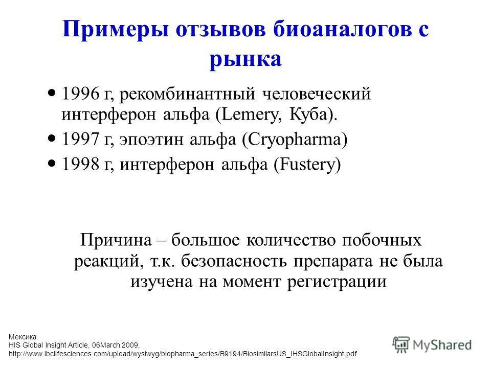 Примеры отзывов биоаналогов с рынка 1996 г, рекомбинантный человеческий интерферон альфа (Lemery, Куба). 1997 г, эпоэтин альфа (Cryopharma) 1998 г, интерферон альфа (Fustery) Причина – большое количество побочных реакций, т.к. безопасность препарата