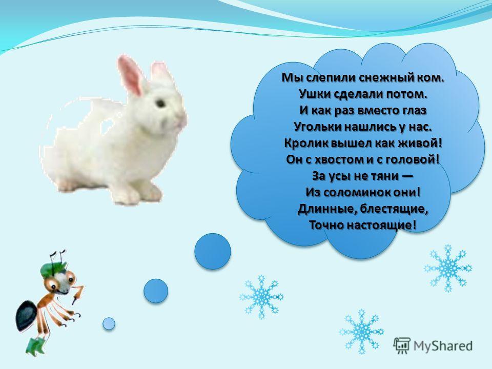 Мы слепили снежный ком. Ушки сделали потом. И как раз вместо глаз Угольки нашлись у нас. Кролик вышел как живой! Он с хвостом и с головой! За усы не тяни Из соломинок они! Длинные, блестящие, Точно настоящие!