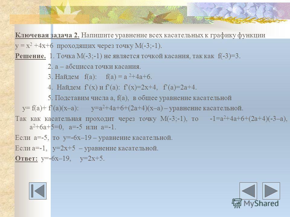 Ключевая задача 2. Напишите уравнение всех касательных к графику функции у = х 2 +4х+6 проходящих через точку М(-3;-1). Решение. 1. Точка М(-3;-1) не является точкой касания, так как f(-3)=3. 2. а – абсцисса точки касания. 3. Найдем f(a): f(a) = a 2