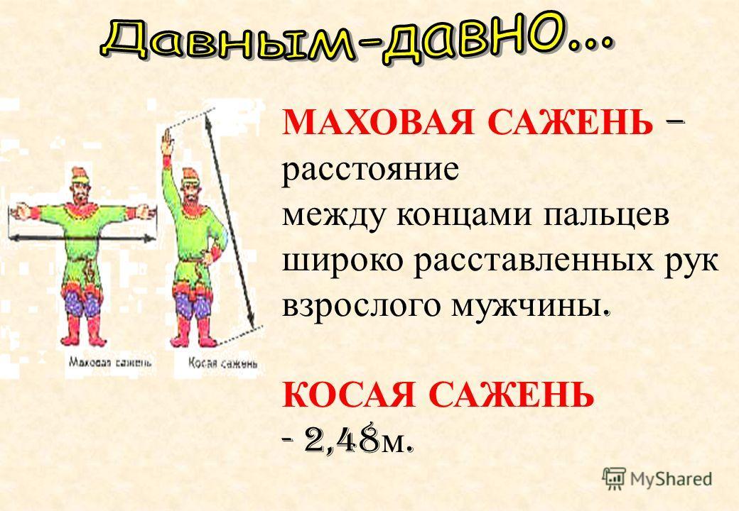 МАХОВАЯ САЖЕНЬ – расстояние между концами пальцев широко расставленных рук взрослого мужчины. КОСАЯ САЖЕНЬ - 2,48 м.