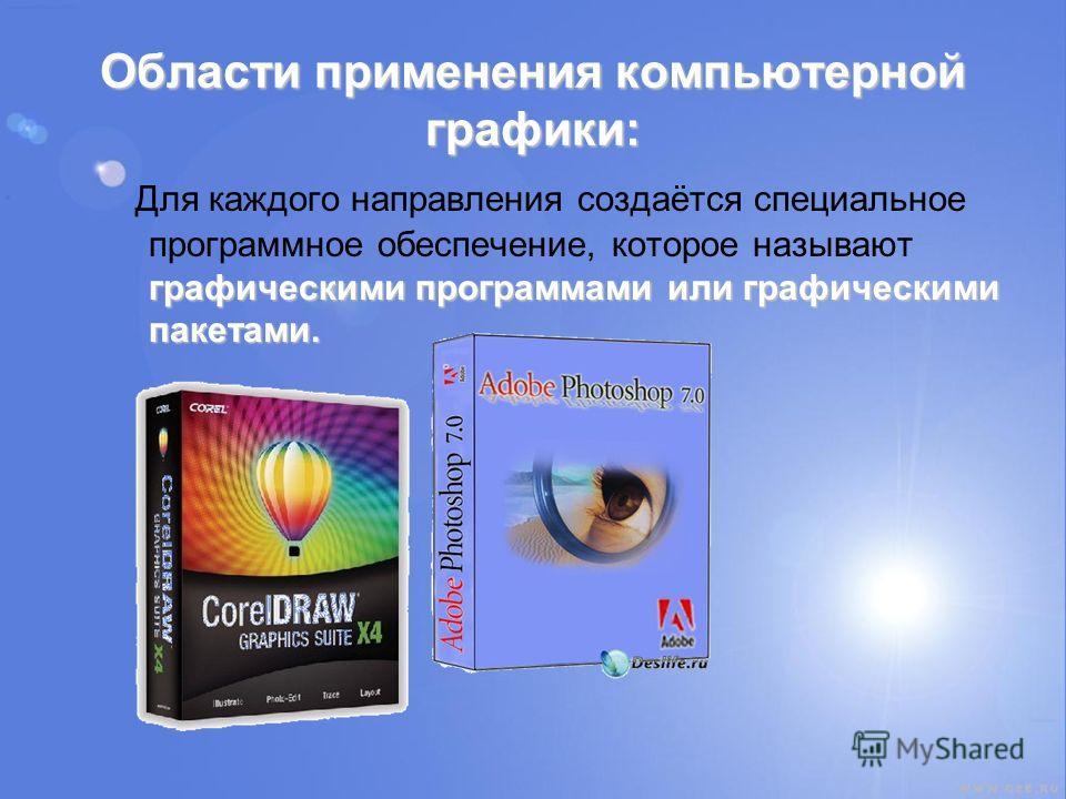 Области применения компьютерной графики: графическими программами или графическими пакетами. Для каждого направления создаётся специальное программное обеспечение, которое называют графическими программами или графическими пакетами.
