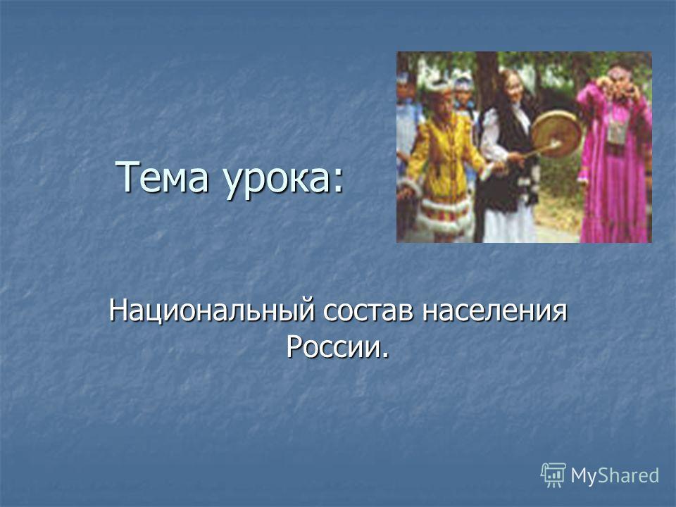 Тема урока: Национальный состав населения России.