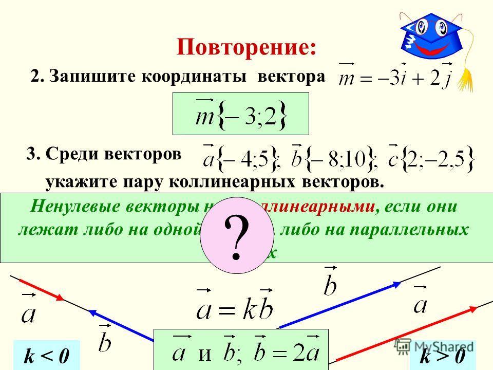 Повторение: 2. Запишите координаты вектора Ненулевые векторы наз. коллинеарными, если они лежат либо на одной прямой, либо на параллельных прямых 3. Среди векторов укажите пару коллинеарных векторов. ? k < 0k > 0
