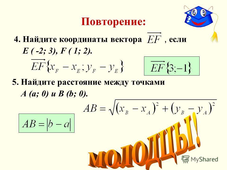 Повторение: 4. Найдите координаты вектора, если Е ( -2; 3), F ( 1; 2). 5. Найдите расстояние между точками А (а; 0) и В (b; 0).