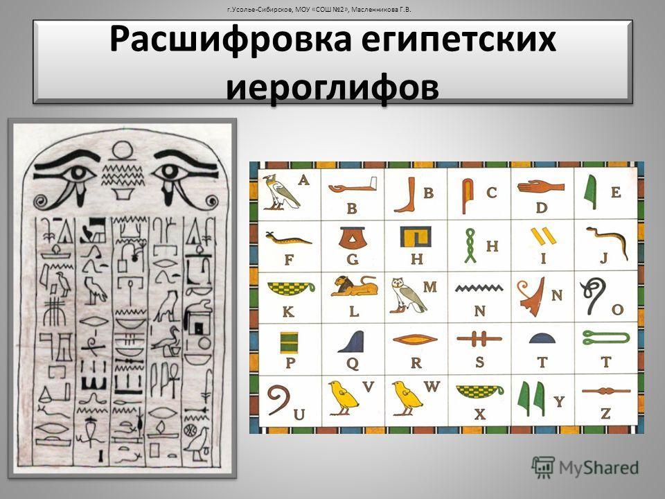 Расшифровка египетских иероглифов г.Усолье-Сибирское, МОУ «СОШ 2», Масленникова Г.В.