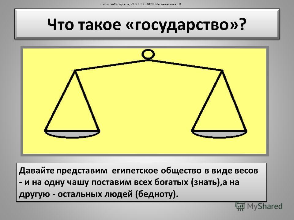 Что такое «государство»? Давайте представим египетское общество в виде весов - и на одну чашу поставим всех богатых (знать),а на другую - остальных людей (бедноту). г.Усолье-Сибирское, МОУ «СОШ 2», Масленникова Г.В.