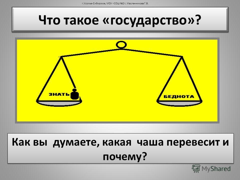 Что такое «государство»? Как вы думаете, какая чаша перевесит и почему? г.Усолье-Сибирское, МОУ «СОШ 2», Масленникова Г.В.