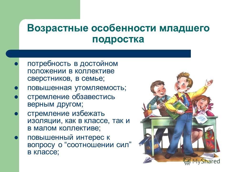 Возрастные особенности младшего подростка потребность в достойном положении в коллективе сверстников, в семье; повышенная утомляемость; стремление обзавестись верным другом; стремление избежать изоляции, как в классе, так и в малом коллективе; повыше