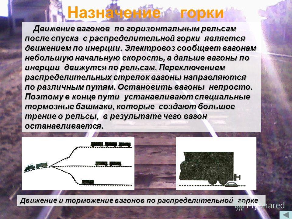 Назначение горки Движение вагонов по горизонтальным рельсам после спуска с распределительной горки является движением по инерции. Электровоз сообщает вагонам небольшую начальную скорость, а дальше вагоны по инерции движутся по рельсам. Переключением