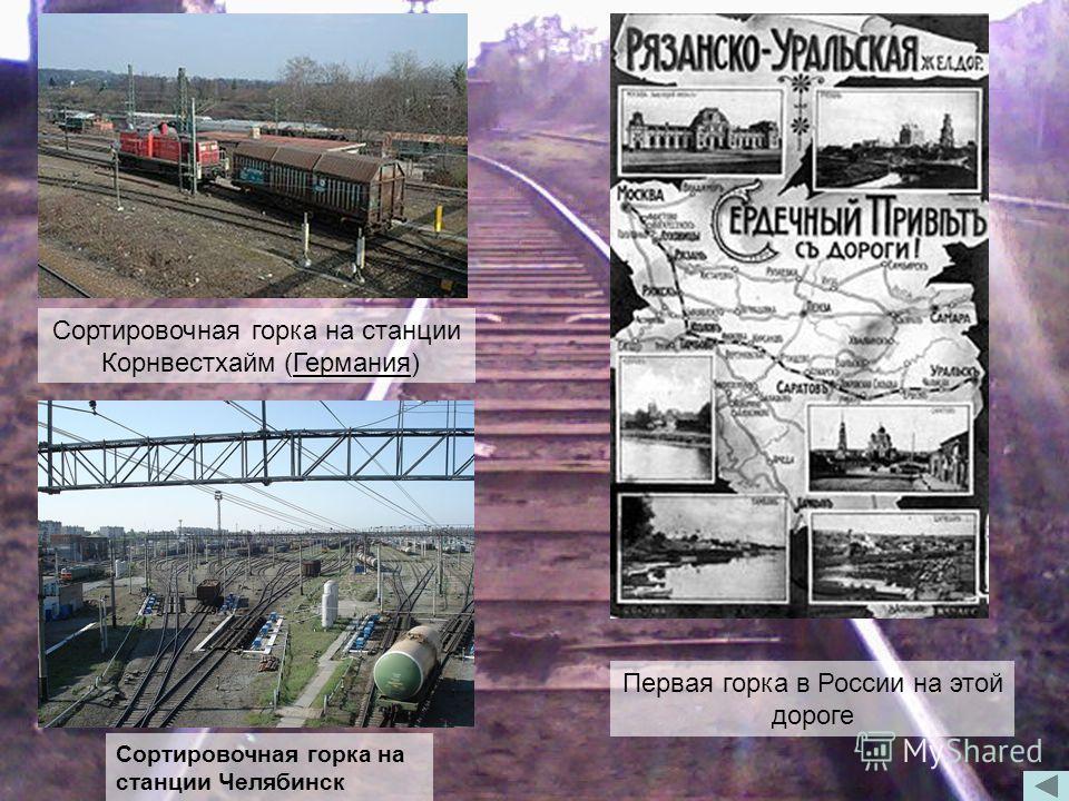 Сортировочная горка на станции Корнвестхайм (Германия) Первая горка в России на этой дороге Сортировочная горка на станции Челябинск