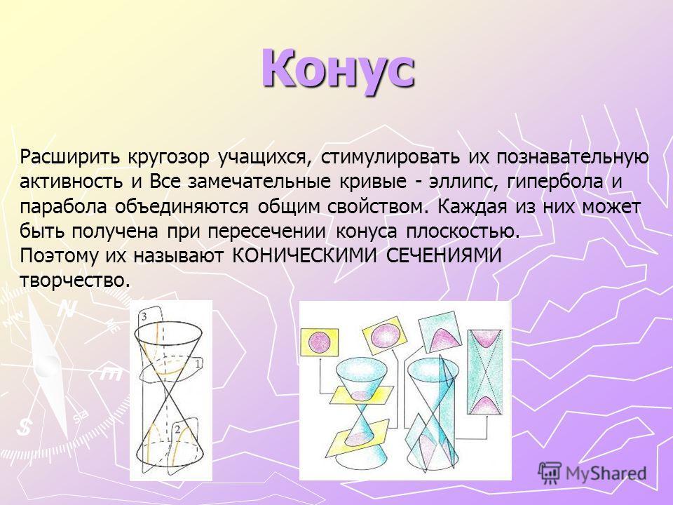 Конус Расширить кругозор учащихся, стимулировать их познавательную активность и Все замечательные кривые - эллипс, гипербола и парабола объединяются общим свойством. Каждая из них может быть получена при пересечении конуса плоскостью. Поэтому их назы