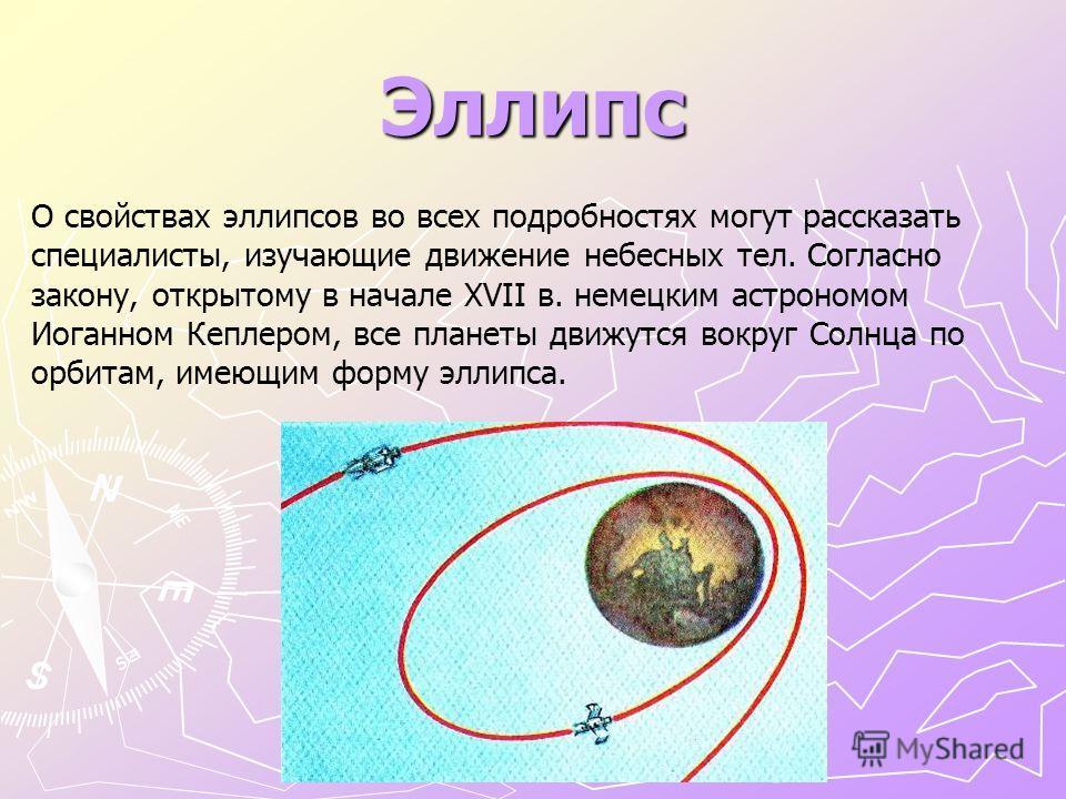 Эллипс О свойствах эллипсов во всех подробностях могут рассказать специалисты, изучающие движение небесных тел. Согласно закону, открытому в начале XVII в. немецким астрономом Иоганном Кеплером, все планеты движутся вокруг Солнца по орбитам, имеющим