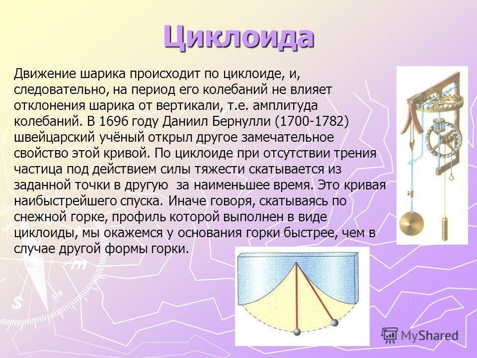 Циклоида Движение шарика происходит по циклоиде, и, следовательно, на период его колебаний не влияет отклонения шарика от вертикали, т.е. амплитуда колебаний. В 1696 году Даниил Бернулли (1700-1782) швейцарский учёный открыл другое замечательное свой