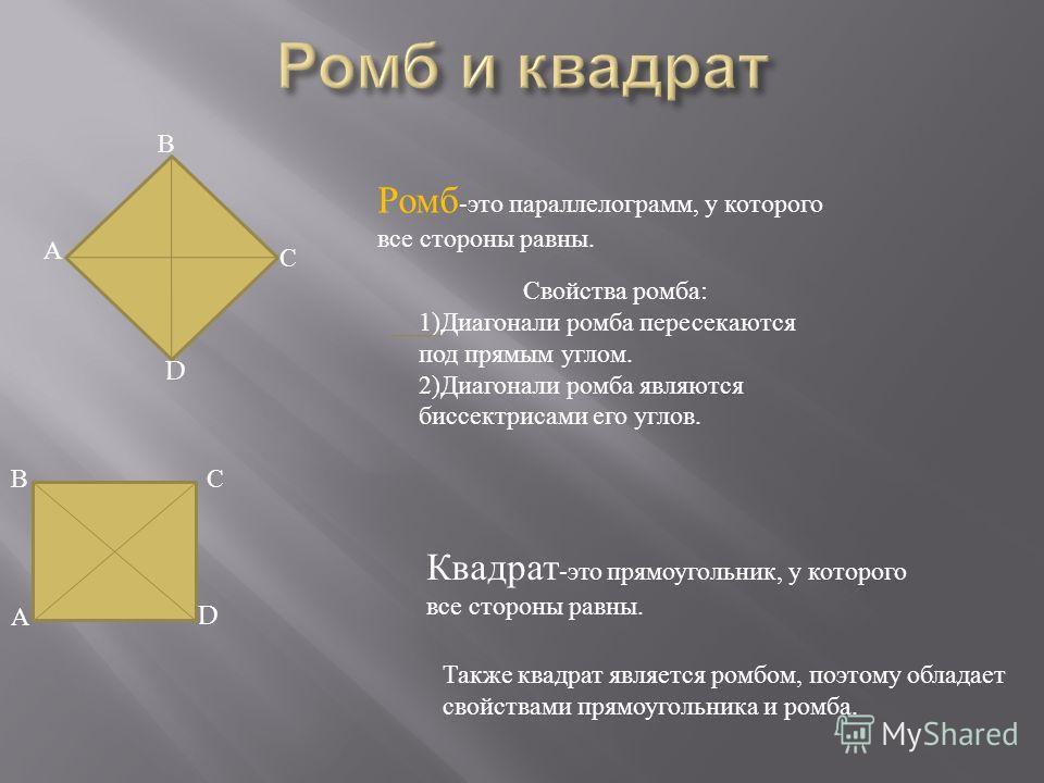 А В С D Ромб -это параллелограмм, у которого все стороны равны. Свойства ромба: 1)Диагонали ромба пересекаются под прямым углом. 2)Диагонали ромба являются биссектрисами его углов. А ВС D Квадрат -это прямоугольник, у которого все стороны равны. Такж