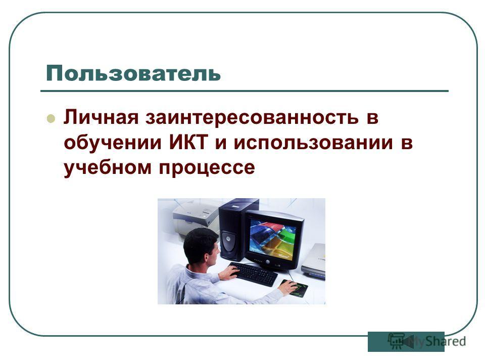 10 Пользователь Личная заинтересованность в обучении ИКТ и использовании в учебном процессе