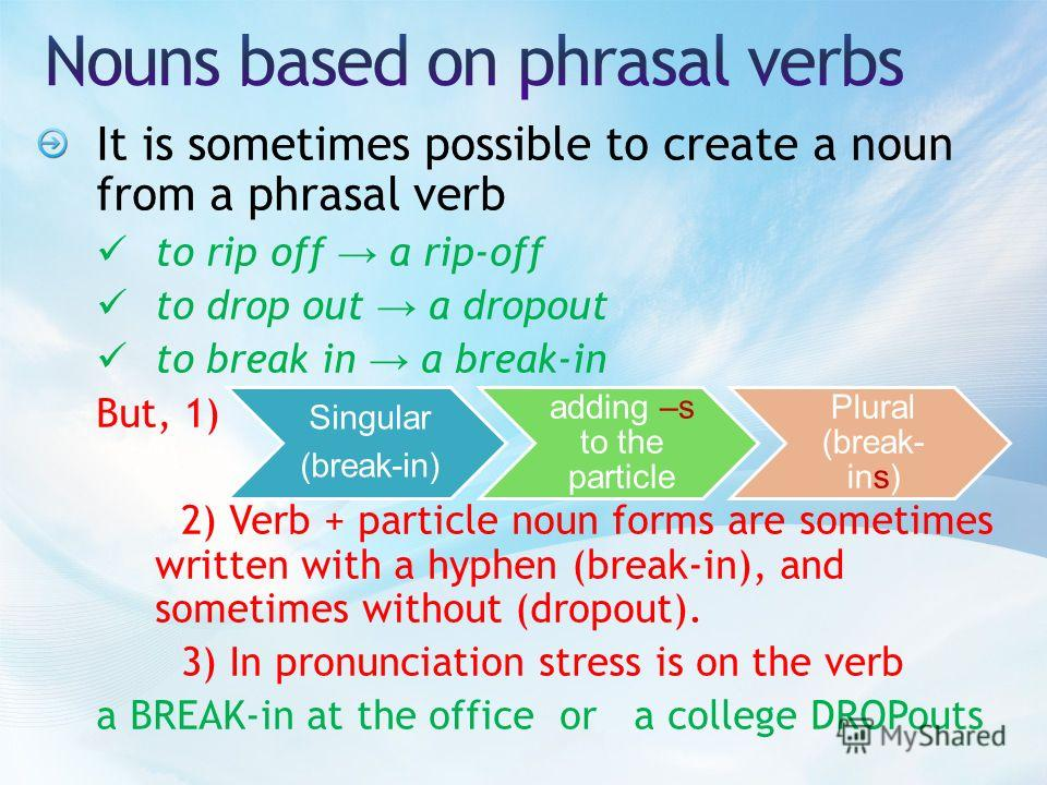 It is sometimes possible to create a noun from a phrasal verb to rip off a rip-off to drop out a dropout to break in a break-in But, 1) 2) Verb + particle noun forms are sometimes written with a hyphen (break-in), and sometimes without (dropout). 3)