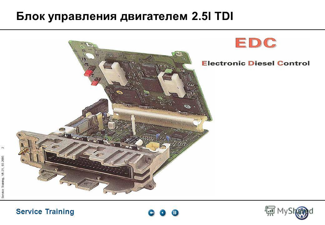 Service Training 2 Service Training, VK-21, 03.2005 Блок управления двигателем 2.5l TDI