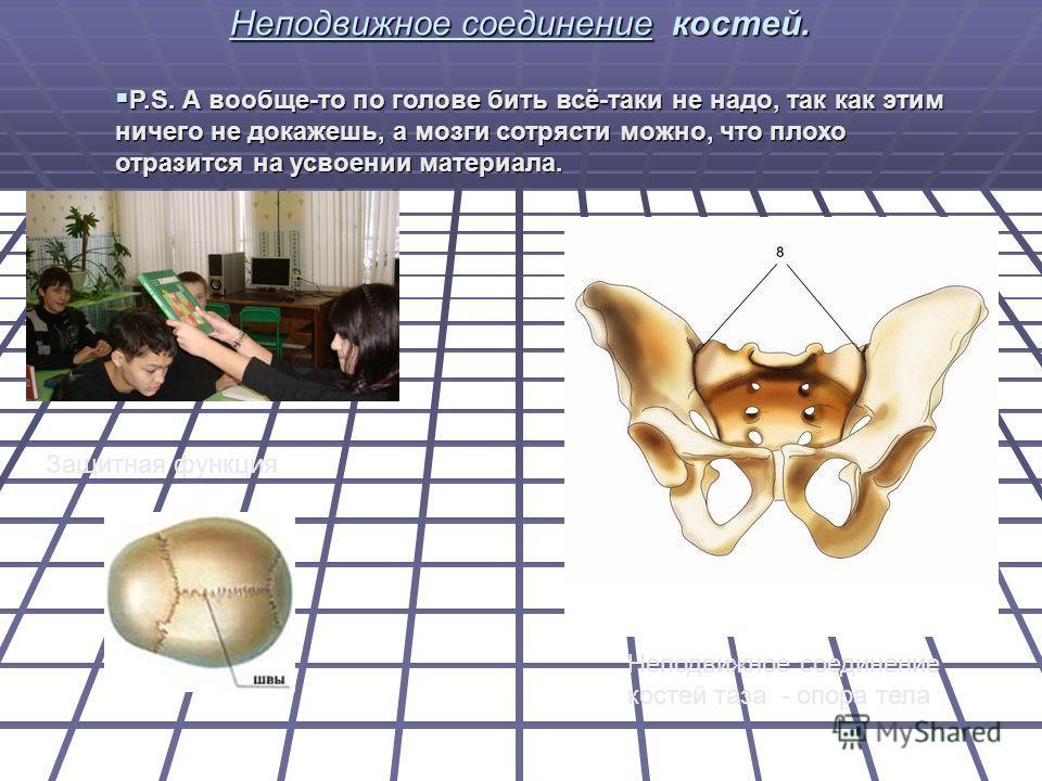 Неподвижное соединение костей. Защитная функция Неподвижное соединение костей таза - опора тела P.S. А вообще-то по голове бить всё-таки не надо, так как этим ничего не докажешь, а мозги сотрясти можно, что плохо отразится на усвоении материала. P.S.