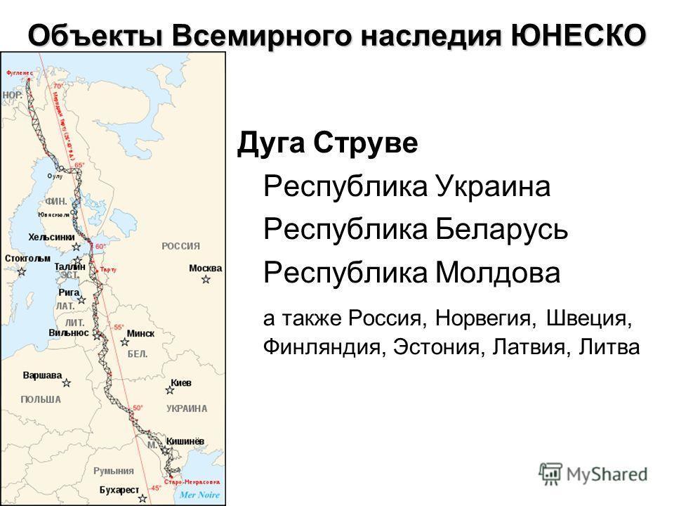 Дуга Струве Республика Украина Республика Беларусь Республика Молдова а также Россия, Норвегия, Швеция, Финляндия, Эстония, Латвия, Литва Объекты Всемирного наследия ЮНЕСКО