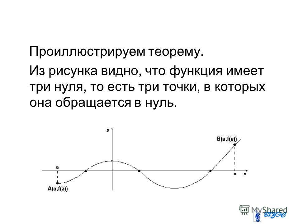 Свойства непрерывных на отрезке функций Проиллюстрируем теорему. Из рисунка видно, что функция имеет три нуля, то есть три точки, в которых она обращается в нуль.