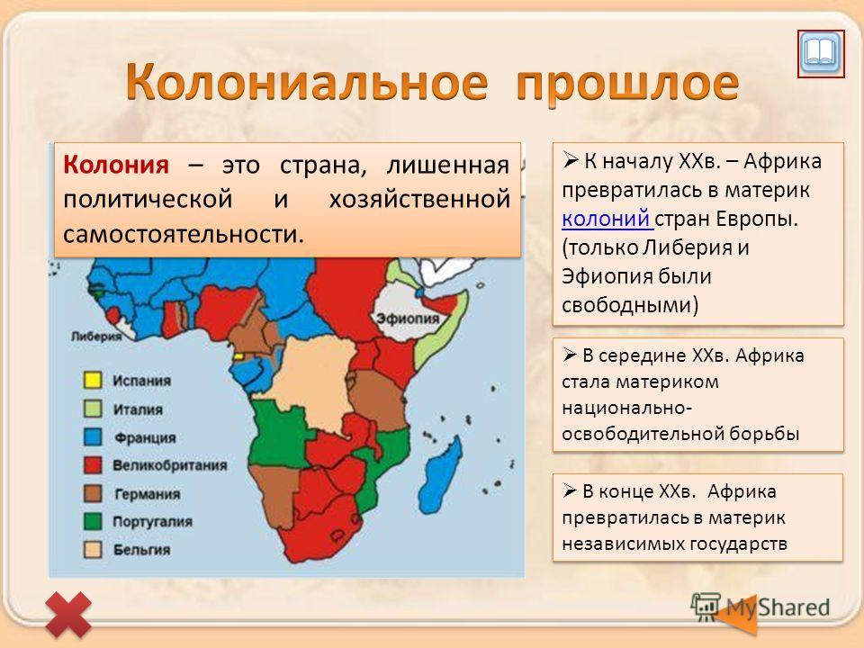 К началу XXв. – Африка превратилась в материк колоний стран Европы. (только Либерия и Эфиопия были свободными) Колония – это страна, лишенная политической и хозяйственной самостоятельности. В середине XXв. Африка стала материком национально- освободи