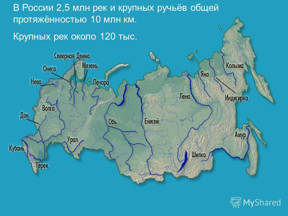 В России 2,5 млн рек и крупных ручьёв общей протяжённостью 10 млн км. Крупных рек около 120 тыс.
