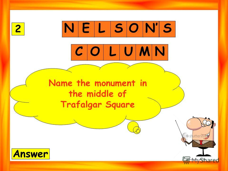 NELSONS 2 Answer COLUMN Name the monument in the middle of Trafalgar Square