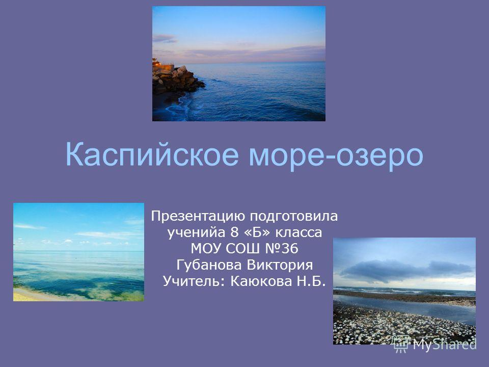 Каспийское море-озеро Презентацию подготовила ученийа 8 «Б» класса МОУ СОШ 36 Губанова Виктория Учитель: Каюкова Н.Б.