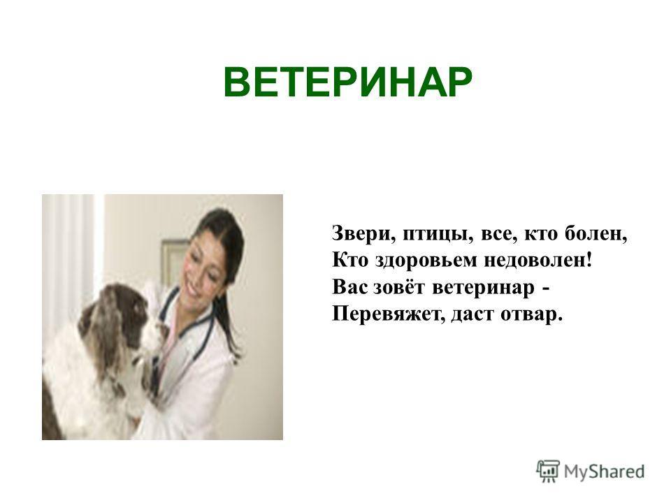 ВЕТЕРИНАР Звери, птицы, все, кто болен, Кто здоровьем недоволен! Вас зовёт ветеринар - Перевяжет, даст отвар.