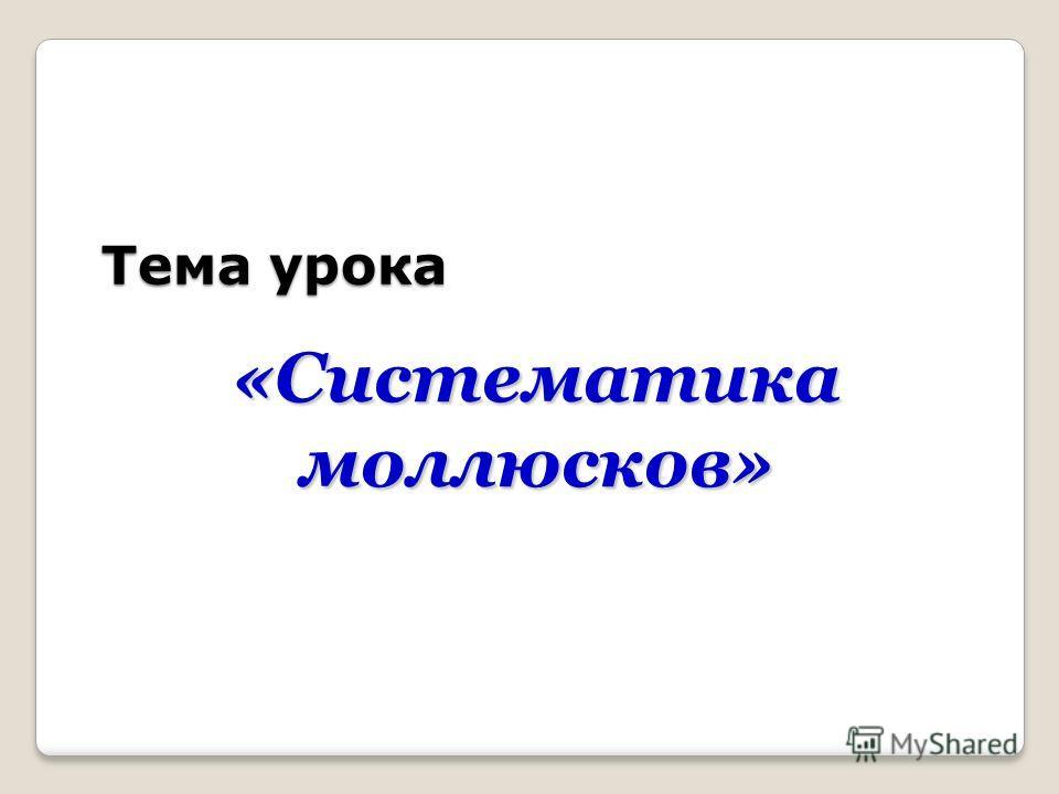 Тема урока Тема урока «Систематика моллюсков»