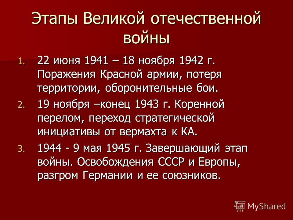 Этапы Великой отечественной войны 1. 22 июня 1941 – 18 ноября 1942 г. Поражения Красной армии, потеря территории, оборонительные бои. 2. 19 ноября –конец 1943 г. Коренной перелом, переход стратегической инициативы от вермахта к КА. 3. 1944 - 9 мая 19