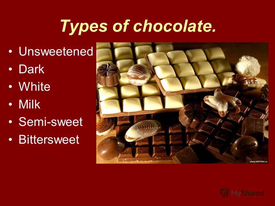 Types of chocolate. Unsweetened Dark White Milk Semi-sweet Bittersweet