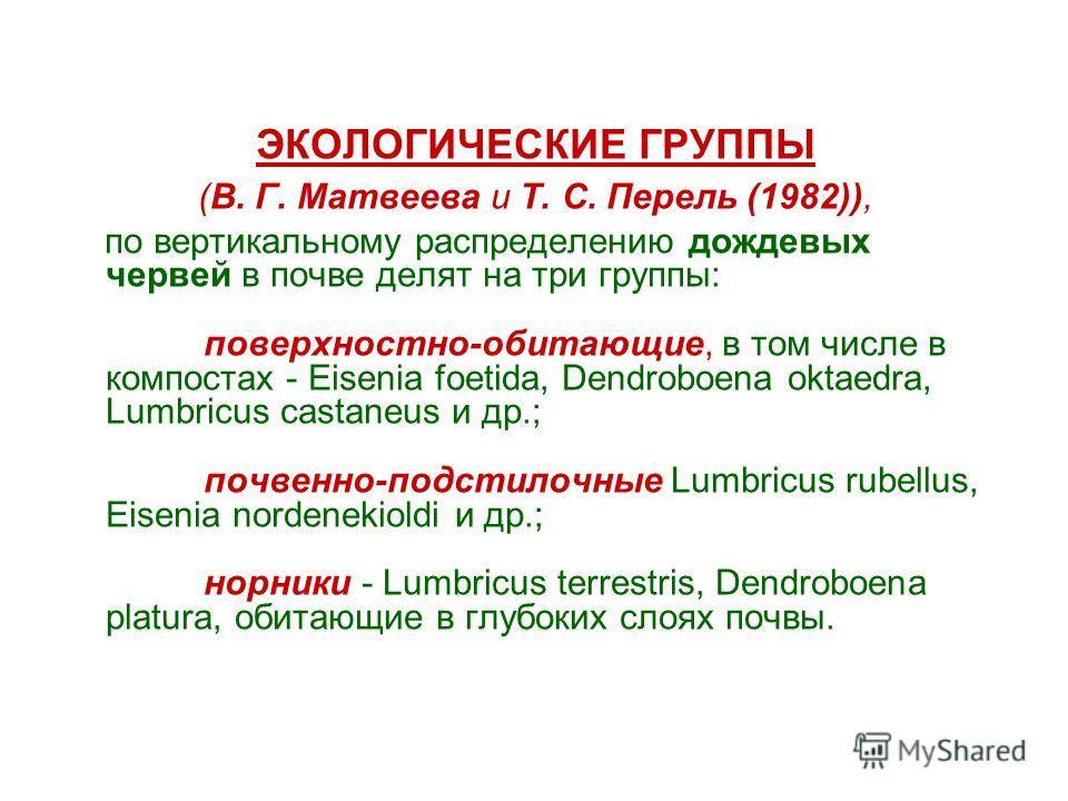 ЭКОЛОГИЧЕСКИЕ ГРУППЫ (В. Г. Матвеева и Т. С. Перель (1982)), по вертикальному распределению дождевых червей в почве делят на три группы: поверхностно-обитающие, в том числе в компостах - Eisenia foetida, Dendroboena oktaedra, Lumbricus castaneus и др