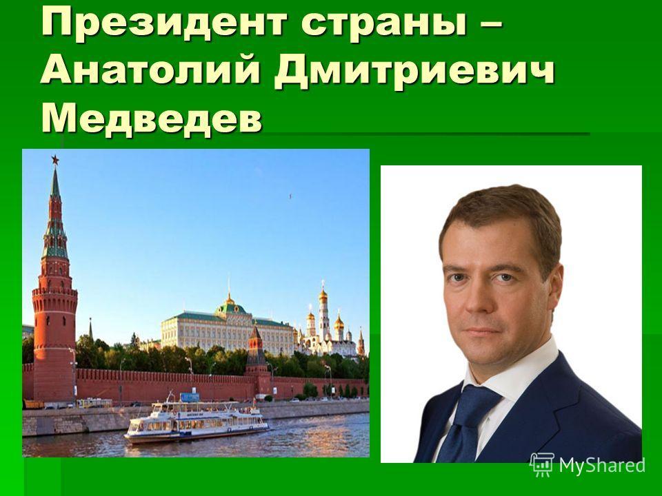 Президент страны – Анатолий Дмитриевич Медведев